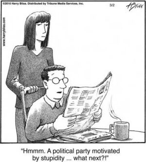 Political party motivated by stupidity