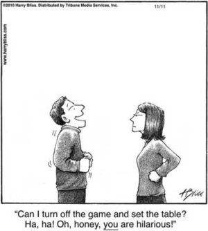 Can I turn off the game and set the table?