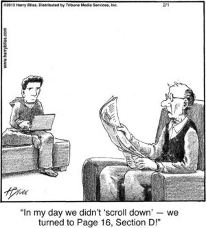 In my day we didn't 'scroll down'...