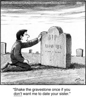 Shake the gravestone once...