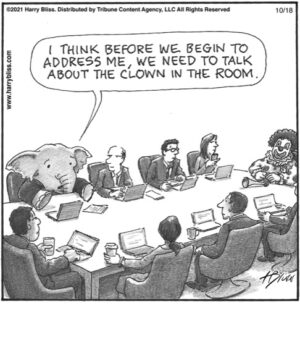 The clown in the room.…